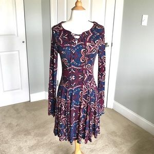 Red and Blue Patterned Long Sleeve Lace Up Dress